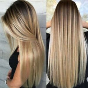 Blonde Wig Ombre Long Brown Gold Straight Black